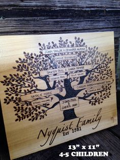 A personal favorite from my Etsy shop https://www.etsy.com/listing/209510802/wood-burned-family-tree-wall-plaque