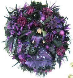 Dark Purple Feather wreath | ... wreath, Fall wreath, witch wreath, door wreath, floral wreath, Front