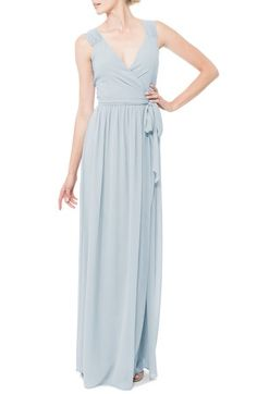 Ceremony by Joanna August 'Newbury' Gathered Sleeve Chiffon Wrap Gown available at #Nordstrom