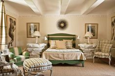 guest room at the Catroux's Provence house, Guest Bedrooms, Guest Room, Master Bedroom, Bedroom Retreat, Bedroom Inspo, Pretty Bedroom, Paris Apartments, Green Rooms, Top Interior Designers