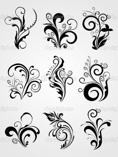 Graphic+Design+Element+Floral+Tattoos+—+Stock+Vector+
