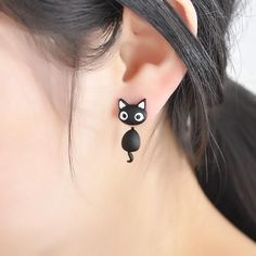 Cheap earring bow, Buy Quality earring bride directly from China earring threads Suppliers: 1 PCS Cute Kitten Cat Stud Earrings Cat Black white Ear Jewelry Earrings For Women Fashion Statement Jewelry Freeshipping Emerald Earrings, Crystal Earrings, Women's Earrings, Black Earrings, Cute Black Kitten, Black Cats, Ideas Joyería, Cat Accessories, Ear Jewelry