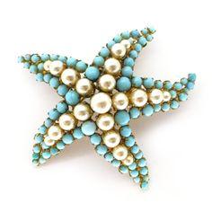 Vintage 1950s Pearl Blue Glass Starfish Brooch | Clarice Jewellery