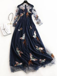 sleeve floral embroidery sleeve floral embroidery dress - retro stage - chic vintage dresses and accessoriesNavy Flying Birds embroidery maxi dressNavy Flying Birds Embroidery Maxi Dress Bird Embroidery, Embroidery Dress, Bird Dress, Dress Up, Dress Beach, Dress Long, Girl Fashion, Fashion Dresses, Maxi Dresses
