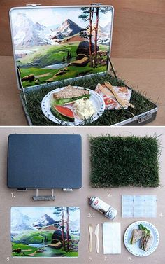 Picnic in a box!...  Set this up as a picnic for two on a dreary winter day.