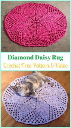 Crochet Diamond Daisy Rug Free Pattern [Video] - Crochet Area Rug Ideas Free Patterns