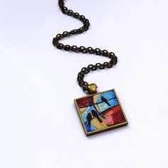 This is a one of a kind wearable art piece by Dana Marie.  Holiday Sale: Originally $35 FREE Shipping for Buyers within the United States.  Each piece is an original miniature painting.     Sunrise, Sunset is an acrylic painting  Original Acrylic Painting Size 1 inch X 1 inch  Pendant: Antique Brass Tone Bezel  Pendant Size: approx 1 (25mm) (not including the bail)  Necklace: 24 Rolo Chain Necklace (Antique Brass Tone) w/ a Lobster Clasp Note: Your wearable art piece is not waterproof and…