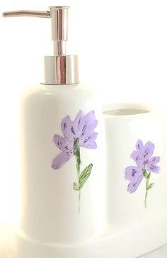 Porcelain Soap Dispenser Toothbrush Holder Lavender Flowers  http://handpainted-glasses.com/shop/lavenderbathroom