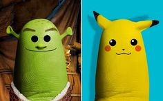 Thumbs Up For Quirky Famous Face Portraits- Shrek and Pikachu