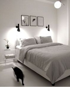 If you want to learn how to live like a minimalist, check out these ideas about minimalist bedroom decor, home decoration and living simple. Bedroom Decor, 36 Minimalist Bedroom Decoration Ideas for Living Simple Minimal Bedroom Design, Monochrome Bedroom, Monochrome Interior, Home Decor Bedroom, Modern Bedroom, Bedroom Furniture, Bedroom Simple, Cozy Bedroom, Bedroom Inspo