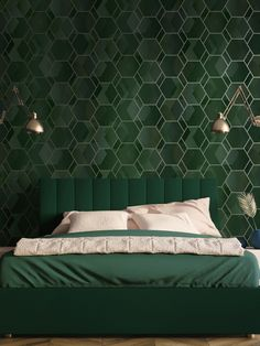 This stylish Asik Geometric wallpaper will make a great statement in most rooms of your home. The paper has a geometric themed design of overlapping hexagons and parallelograms in rich tones of green, with a soft metallic gold outline. There is a subtle mottled pattern running through it which gives a textured fabric effect although the paper has a smooth matte finish. This high quality wallpaper would look great as a feature wall or equally good when used to decorate a whole room. Pastel Colors, Bold Colors, Interior Styling, Interior Design, Gold Highlights, Geometric Wallpaper, High Quality Wallpapers, Hexagons, Geometric Designs
