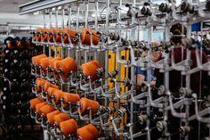 Twisting machine to make yarn 2/fold.