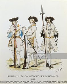 Militaria, France, 18th century. Army of Louis XIV, known as the Sun King: rifleman of the Regiment La Sarre and sergeant of the Regiment Normandie, 1706. Color engraving by E. Chioppa. Turin, Museo Pietro Micca E Dell'Assedio Di Torino Del 1706