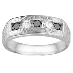 14k Gold 0.75 Ct. Black and White Cubic Zirconia Men's Wedding Ring (14k Yellow Gold, Size 4)