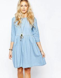 Image 1 ofBoohoo Oversized Denim Smock Dress