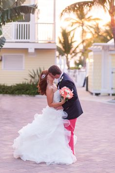 A Preppy, Coral and Navy Wedding at Southernmost on the Beach in Key West, Florida Key West Florida, Real Weddings, Preppy, Marie, Navy, Wedding Dresses, Beach, Style, Fashion