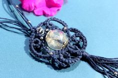 Unique wish necklace, OAK only copy of macrame necklace with Dandelion seeds, Terrarium pendant make a wish handmade jewelry, Christmas gift
