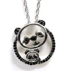 925 sterling silver black diamond panda bear baby pendant necklace mother child