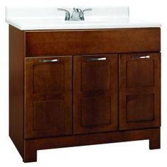 Glacier Bay, Casual 36 in. W x 21 in. D x 33.5 in. H Vanity Cabinet Only in Cognac, CACO36Y at The Home Depot - Mobile
