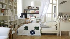 Bedroom: Small Bedroom Decorating Ideas Feautures White Marple Wooden Bedframe And Cute Solid Suport Wall Bookcase Furnished Awning Glass Windows With Curtains ~ FILEOVE