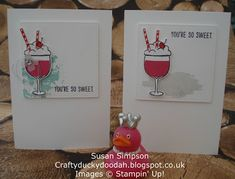 Craftyduckydoodah!: Stampin' Up! Mixed Drinks - stepped up