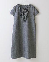 pindot/ホームクチュール/ワンピースそのまま着ても、重ねて着ても Japanese Sewing Patterns, Short Sleeve Dresses, Dresses With Sleeves, Tunic Tops, Couture, Shopping, Women, Fashion, Moda