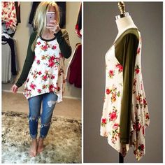 Floral Baseball Sleeve Contrast Tunic Tops in Olive or Coral!
