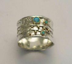 Bleu bague opales, anneau de mères, bague deux tons, organique ring, anneau d'argent Sterling, bande de pierres précieuses, argent bague en or jaune - rêveur. R1077X