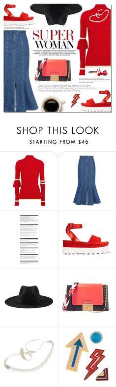 """Red & Denim"" by bibibaubau ❤ liked on Polyvore featuring Maggie Marilyn, STELLA McCARTNEY, Arche, Miu Miu, Goorin, Ciaté, M.i.h Jeans, red, Sweater and jeans"