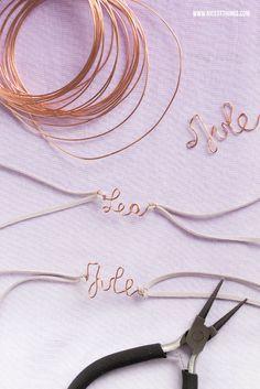 DIY Copper Wire Friendship Name Bracelets