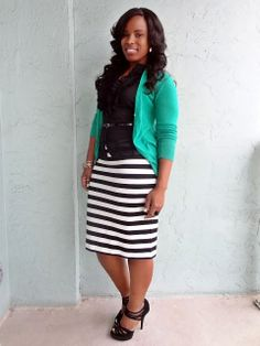 Pair Black and White skirt with black silk shell and a bright colored sweater
