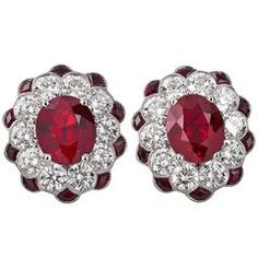 Burma Ruby Diamond platinum Earrings