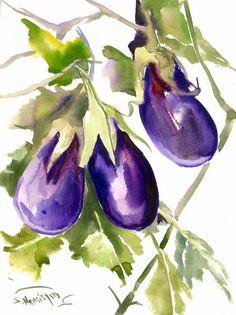 Eggplants Painting, original watercolor, 12 x 9 in, vegetables, kitchen… Watercolor Fruit, Watercolor Wallpaper, Watercolor Paintings, Original Paintings, Watercolours, Veggie Art, Sketch Inspiration, Beginner Painting, Fruit Art