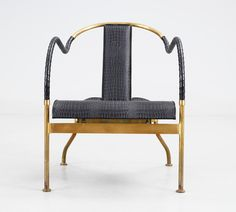 Brass and leather arm chair by Kallemo