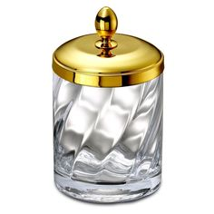 Bathroom Jar, Windisch 88801O, Cotton Swabs Jar Made From Twisted Glass And  Gold Brass