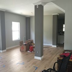 In Austin - too cool for Colorado. Sherwin Williams paint: Colums: Dovetail, Walls: Repose Gray