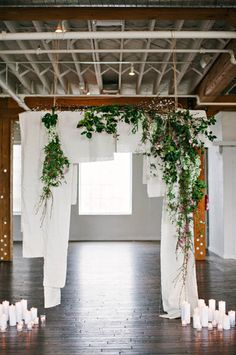 Floating Walls - A clever way to break up an open floor plan if you're going for a more intimate vibe. {Jen Rios Weddings}