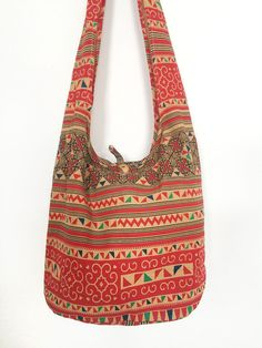 NEW!! Thai Shoulder Bag CrossBody Bag Cotton Bag Boho Hippie Handmade Red #thaibag #hippie
