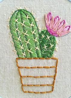 DIY Embroidery Projects and Crafts On the lookout for some artistic DIY embroidery designs and initiatives? Are you swept away each time you see a cool embroidery concept? Embroidery Designs, Cactus Embroidery, Hand Embroidery Stitches, Embroidery Hoop Art, Vintage Embroidery, Silk Ribbon Embroidery, Cross Stitch Embroidery, Machine Embroidery, Embroidered Cactus