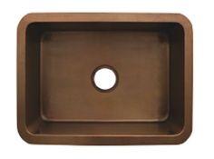 """Whitehaus WH2519COUM 25"""" Copperhaus Rectangular Smooth Undermount Copper Kitchen Sink"""
