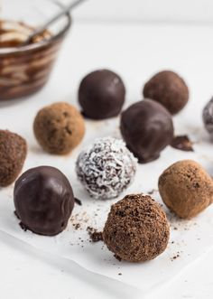 Chocolate Coconut Butter Truffles, the perfect treat when you're craving something sweet. Vegan, gluten free, paleo, and naturally sweetened.