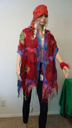 Shawl,Fashion, Felted shawl, Fairy, OOAK, Handmade, in USA, , Wearable art, Organic, felted scarf, Women top,Artistic, Story costumes, gypsy by rafaelart on Etsy