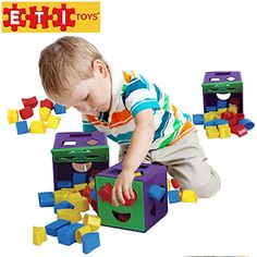 ETI Toys  19 Piece Shape Sorter Cube with Multiple Color Shapes for Sorting >>> ON SALE Check it Out