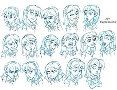 """An expression model sheet I did for the new """"Superbook"""" CG TV series. Her name is Joy. This was created as a """"range of motion"""" for the CG modelers and animators. By Tom Bancroft"""
