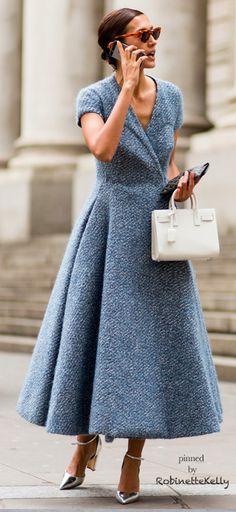 Street Style | Beautiful Blue Coat Dress
