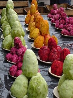 "Nopal's fruit ""tuna"" in assorted varieties. Mexico."