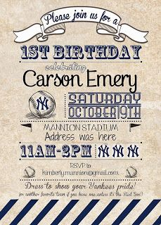 Yankees baseball theme 1st birthday party invitation (Happily Island After)
