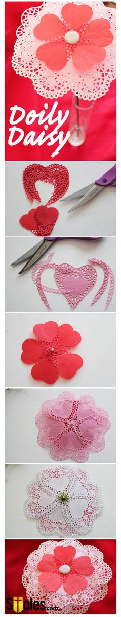 Running out of time for this Valentines Day? Try this 30 mins Doily Daisy!