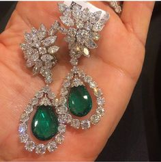 Diamond and Emerald Earrings Emerald Earrings, Emerald Jewelry, Ear Jewelry, Bridal Jewelry, Diamond Jewelry, Gold Jewelry, Fine Jewelry, Stud Earrings, Bridal Jewellery Inspiration