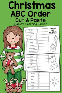 Download a free 3-page set of Christmas ABC Order Worksheets for your young learners! Neat cut and paste style.